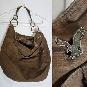 American Eagle Hobo Book Bag Brown Purse Big